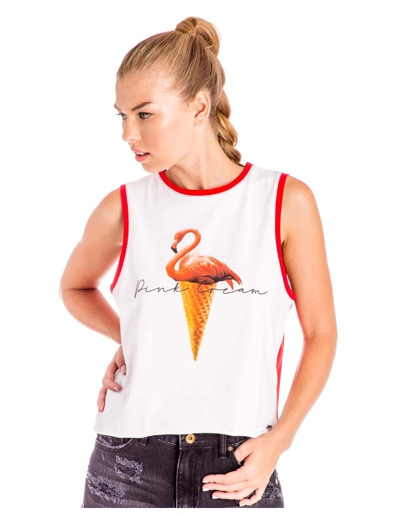 Camiseta Tirantes Ice Cream Blanco - Rojo
