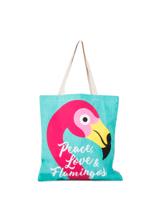 Bolsa Shopper Flamingo Turquesa