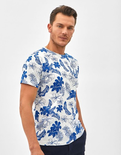 Camiseta Blue Palm Blanco